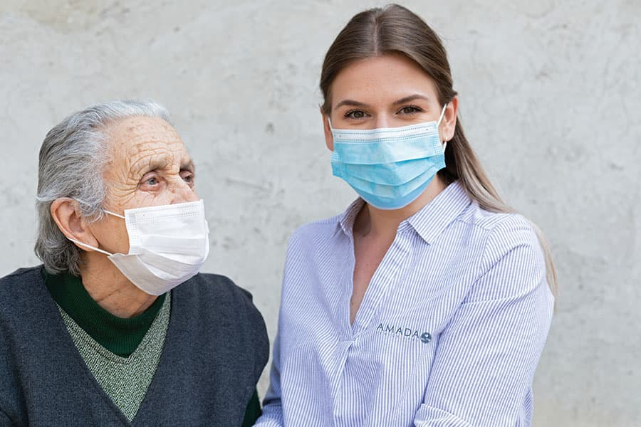 caregiving with masks